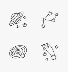 four stylish space icons vector image