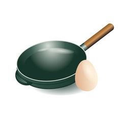 Frying pan and egg vector