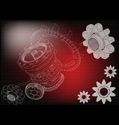 gear mechanism on red vector image