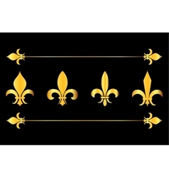 Golden fleur de lys design elements black vector