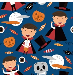 Halloween background with kids and candies vector