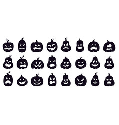 halloween pumpkins silhouette scary spooky vector image