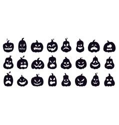 Halloween pumpkins silhouette scary spooky vector
