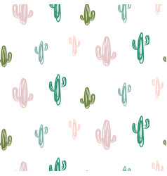 Hand drawn cactus modern youthful pattern seamless vector