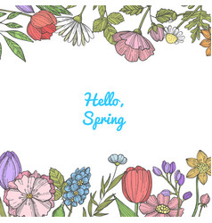 hand drawn color flowers background banner vector image
