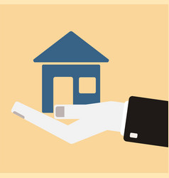 Hand holding a house icon real estate concept in vector