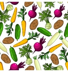 Healthy organic fresh vegetables seamless pattern vector