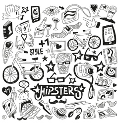 hipsters - doodles set vector image