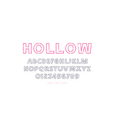 hollow sans serif font in classic style vector image