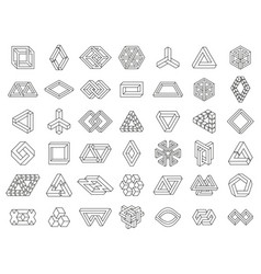 Impossible geometric shapes paradox geometry line vector