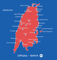 Island of lefkada in greece red map vector