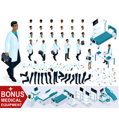 Isometric doctor african american create character vector