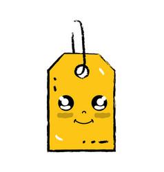 kawaii cute happy label price vector image
