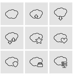line cloud icon set vector image