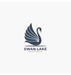 logo swan silhouette style vector image