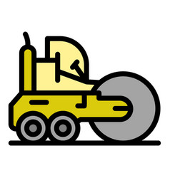 Machine road roller icon color outline vector