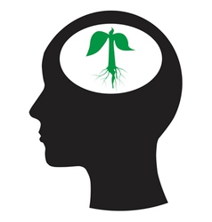 Man and thinking and tree vector