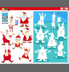 Matching shapes game with cartoon santa claus vector
