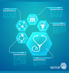 medicine and pharmacy blue poster vector image