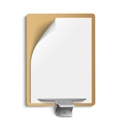 Metallic clamp on blank sheet of paper vector