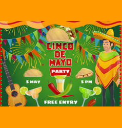 mexican cinco de mayo party drinks and fiesta food vector image