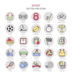 Modern color thin line icons on sports themes vector image