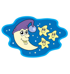 Moon in cap and stars vector
