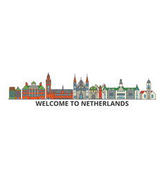 netherlands outline skyline dutch flat thin line vector image