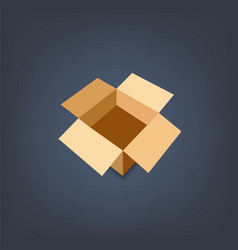 opened cardboard package box flat design style vector image