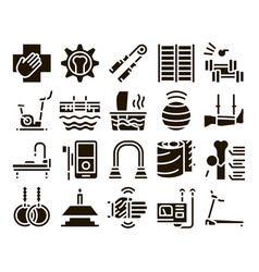 Physical therapy and recovery icons set vector