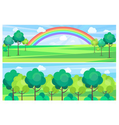 Picturesque scenery landscape with color rainbow vector