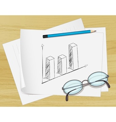Planning bar graph paper vector image