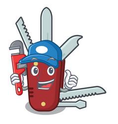 Plumber penknife in a cartoon bag vector