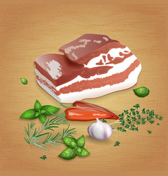 pork brisket with tasty sauces and spices vector image