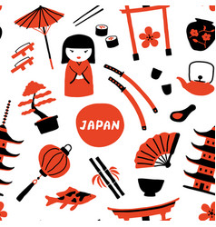Seamless japanese childish pattern vector