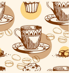 seamless pattern with cake and coffee vector image
