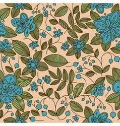 Seamless vintage fabric floral pattern vector image