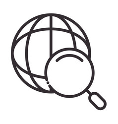 Search icon world magnifier pictogram thin line vector