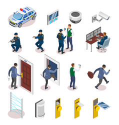 security systems isometric icons vector image