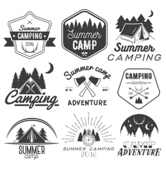 set camping labels in vintage style vector image
