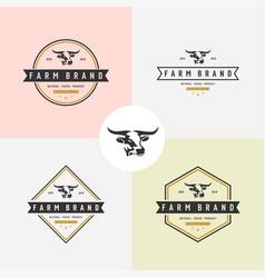 set cow head silhouette emblem logo label vector image