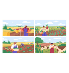 set horizontal banners with farmers picking vector image