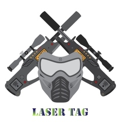 Set of laser tag game helmet guns in flat style vector