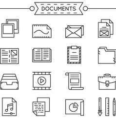 Set of linear documents icons vector