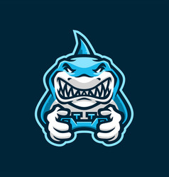 Shark gaming joy stick e sport logo icon vector