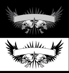 skull wings with banner tattoo style graphic vector image