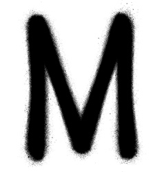 Sprayed M font graffiti in black over white vector