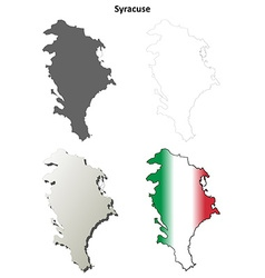 Syracuse blank detailed outline map set vector