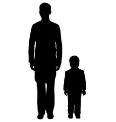 teen boy and kid standing near silhouette vector image