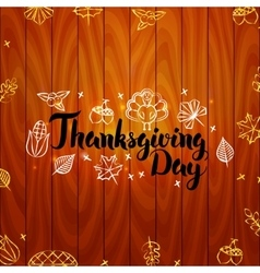 Thanksgiving Day over Wooden Board vector